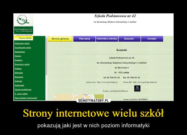 Strony internetowe wielu szkół – pokazują jaki jest w nich poziom informatyki