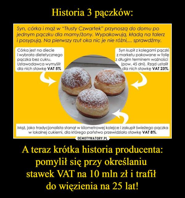 A teraz krótka historia producenta:pomylił się przy określaniu stawek VAT na 10 mln zł i trafił do więzienia na 25 lat! –