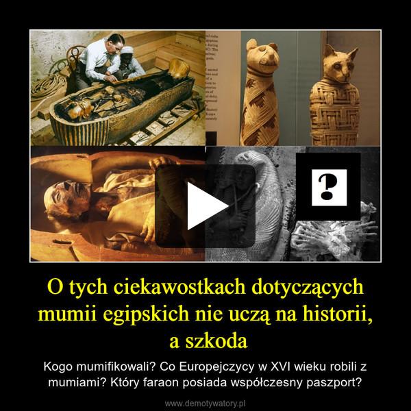 O tych ciekawostkach dotyczących mumii egipskich nie uczą na historii, a szkoda – Kogo mumifikowali? Co Europejczycy w XVI wieku robili z mumiami? Który faraon posiada współczesny paszport?