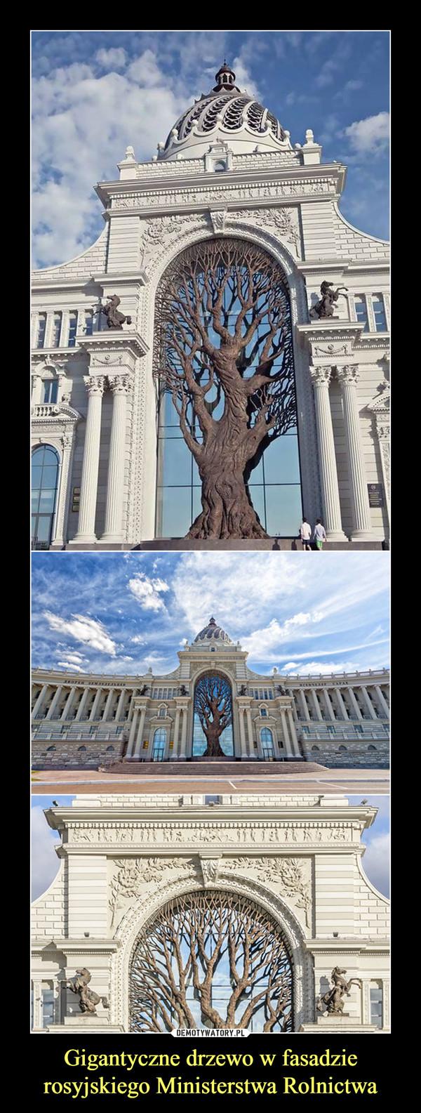 Gigantyczne drzewo w fasadzie rosyjskiego Ministerstwa Rolnictwa –