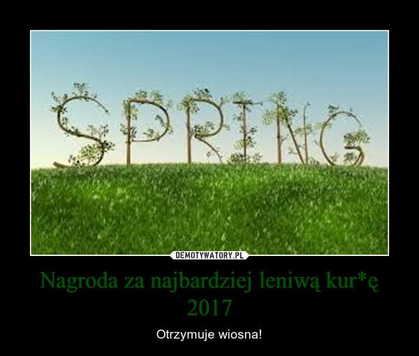 Nagroda za najbardziej leniwą kur*ę 2017 – Otrzymuje wiosna!