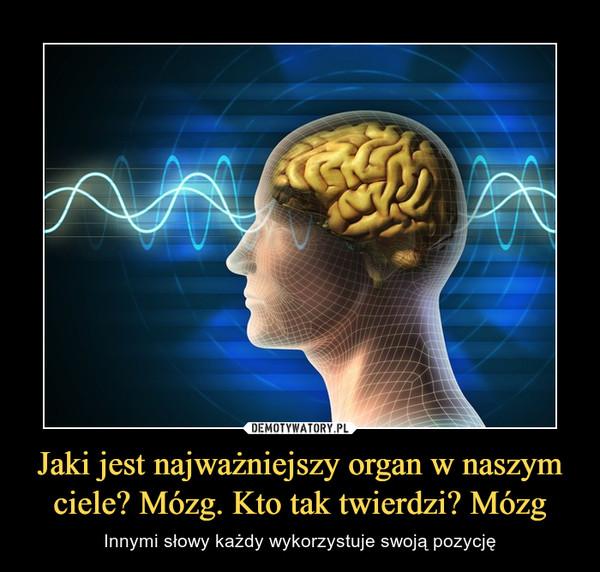 Jaki jest najważniejszy organ w naszym ciele? Mózg. Kto tak twierdzi? Mózg – Innymi słowy każdy wykorzystuje swoją pozycję