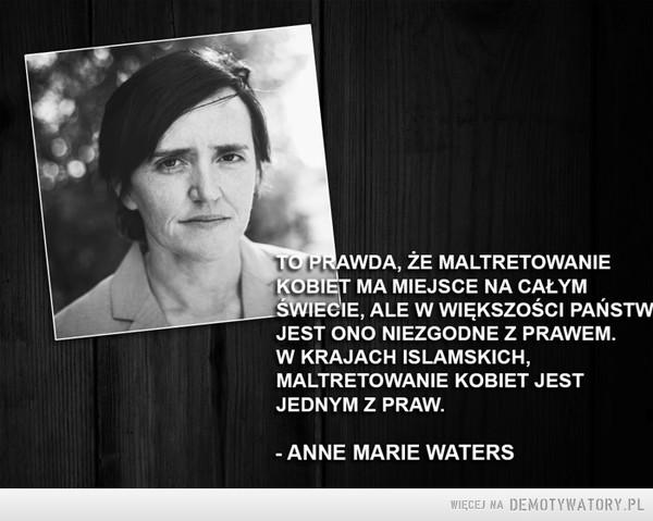 """Z dedykacją dla tych którzy mówią """"a w Polsce też to się zdarza""""... –  To prawda, że maltretowanie kobiet ma miejsce na całym świecie, ale w większości państw jest ono niezgodne z prawem. W krajach islamskich maltretowanie kobiet jest jednym z praw. Anne Marie Waters"""