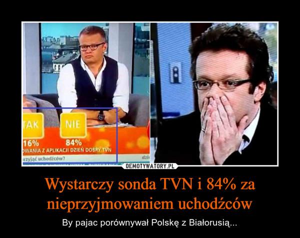 Wystarczy sonda TVN i 84% za nieprzyjmowaniem uchodźców – By pajac porównywał Polskę z Białorusią...