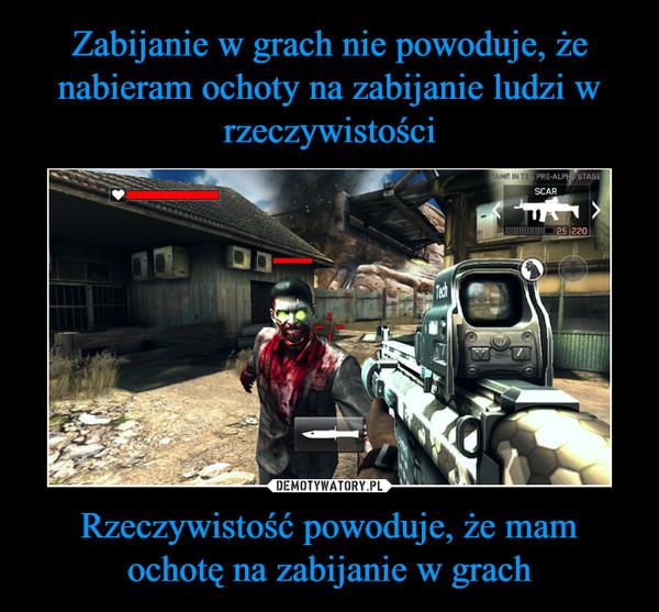 Rzeczywistość powoduje, że mam ochotę na zabijanie w grach –