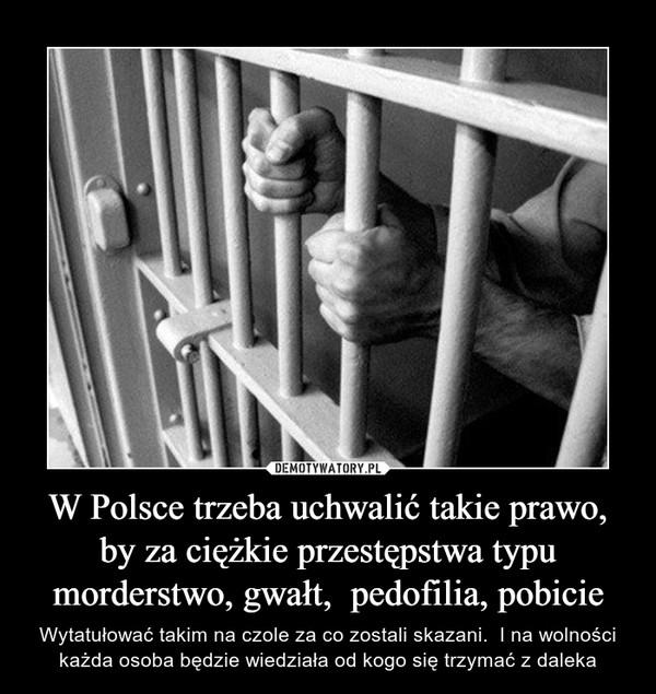 W Polsce trzeba uchwalić takie prawo, by za ciężkie przestępstwa typu morderstwo, gwałt,  pedofilia, pobicie – Wytatułować takim na czole za co zostali skazani.  I na wolności każda osoba będzie wiedziała od kogo się trzymać z daleka