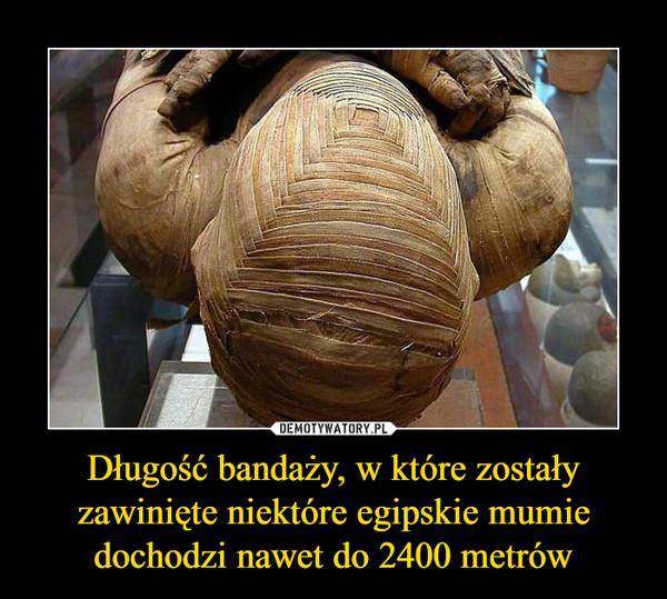 Długość bandaży, w które zostały zawinięte niektóre egipskie mumie dochodzi nawet do 2400 metrów –