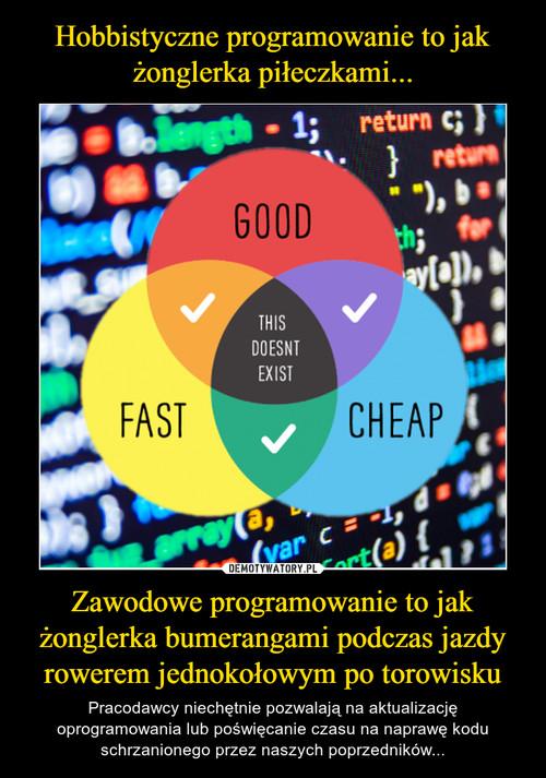 Hobbistyczne programowanie to jak żonglerka piłeczkami... Zawodowe programowanie to jak żonglerka bumerangami podczas jazdy rowerem jednokołowym po torowisku