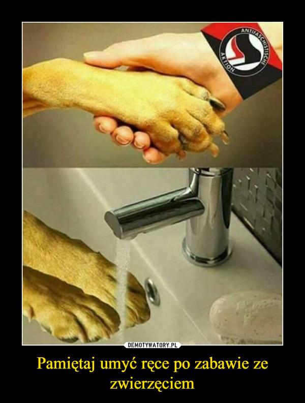 Pamiętaj umyć ręce po zabawie ze zwierzęciem –