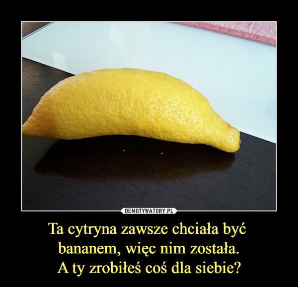 Ta cytryna zawsze chciała być bananem, więc nim została.A ty zrobiłeś coś dla siebie? –