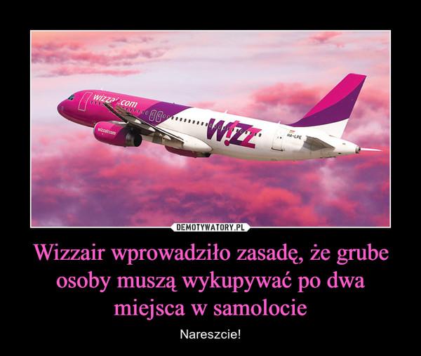 Wizzair wprowadziło zasadę, że grube osoby muszą wykupywać po dwa miejsca w samolocie – Nareszcie!