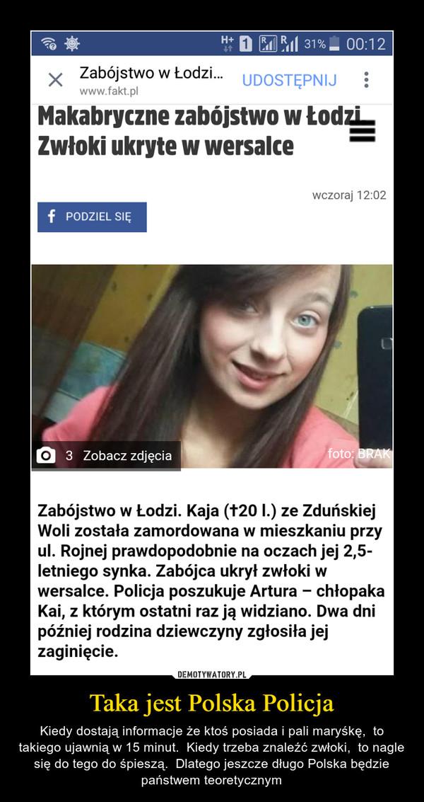 Taka jest Polska Policja – Kiedy dostają informacje że ktoś posiada i pali maryśkę,  to takiego ujawnią w 15 minut.  Kiedy trzeba znaleźć zwłoki,  to nagle się do tego do śpieszą.  Dlatego jeszcze długo Polska będzie państwem teoretycznym