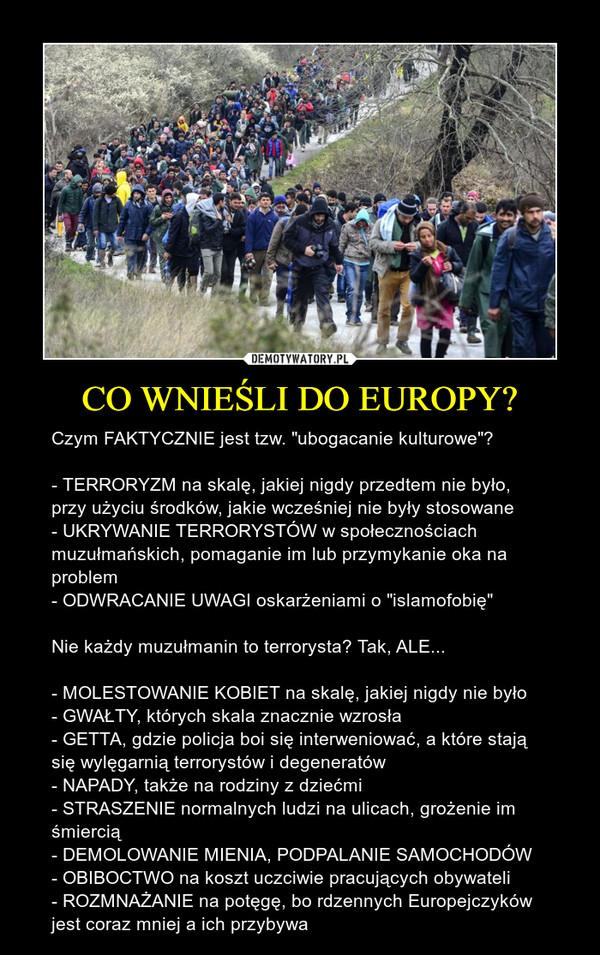 """CO WNIEŚLI DO EUROPY? – Czym FAKTYCZNIE jest tzw. """"ubogacanie kulturowe""""? - TERRORYZM na skalę, jakiej nigdy przedtem nie było, przy użyciu środków, jakie wcześniej nie były stosowane- UKRYWANIE TERRORYSTÓW w społecznościach muzułmańskich, pomaganie im lub przymykanie oka na problem- ODWRACANIE UWAGI oskarżeniami o """"islamofobię""""Nie każdy muzułmanin to terrorysta? Tak, ALE...- MOLESTOWANIE KOBIET na skalę, jakiej nigdy nie było- GWAŁTY, których skala znacznie wzrosła- GETTA, gdzie policja boi się interweniować, a które stają się wylęgarnią terrorystów i degeneratów- NAPADY, także na rodziny z dziećmi- STRASZENIE normalnych ludzi na ulicach, grożenie im śmiercią- DEMOLOWANIE MIENIA, PODPALANIE SAMOCHODÓW- OBIBOCTWO na koszt uczciwie pracujących obywateli- ROZMNAŻANIE na potęgę, bo rdzennych Europejczyków jest coraz mniej a ich przybywa"""