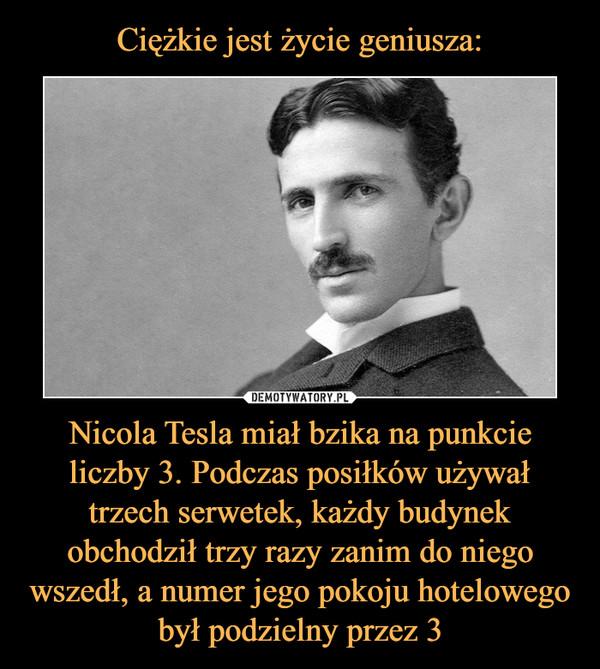 Nicola Tesla miał bzika na punkcie liczby 3. Podczas posiłków używał trzech serwetek, każdy budynek obchodził trzy razy zanim do niego wszedł, a numer jego pokoju hotelowego był podzielny przez 3 –