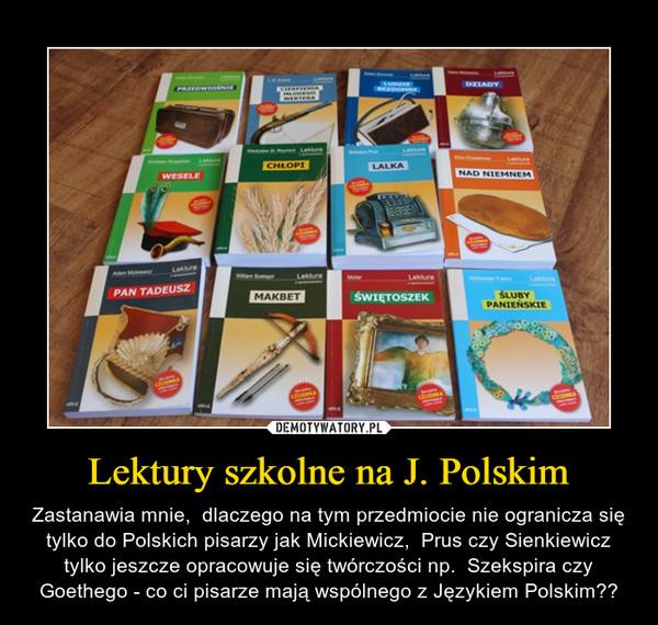 Lektury szkolne na J. Polskim – Zastanawia mnie,  dlaczego na tym przedmiocie nie ogranicza się tylko do Polskich pisarzy jak Mickiewicz,  Prus czy Sienkiewicz tylko jeszcze opracowuje się twórczości np.  Szekspira czy Goethego - co ci pisarze mają wspólnego z Językiem Polskim??