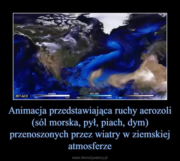 Animacja przedstawiająca ruchy aerozoli (sól morska, pył, piach, dym) przenoszonych przez wiatry w ziemskiej atmosferze –
