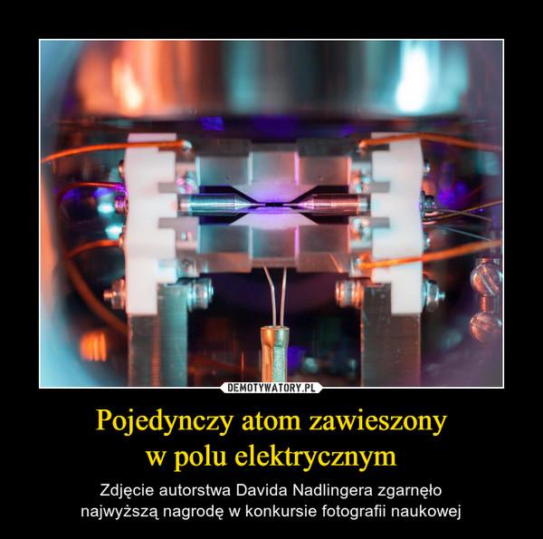 Pojedynczy atom zawieszonyw polu elektrycznym – Zdjęcie autorstwa Davida Nadlingera zgarnęłonajwyższą nagrodę w konkursie fotografii naukowej