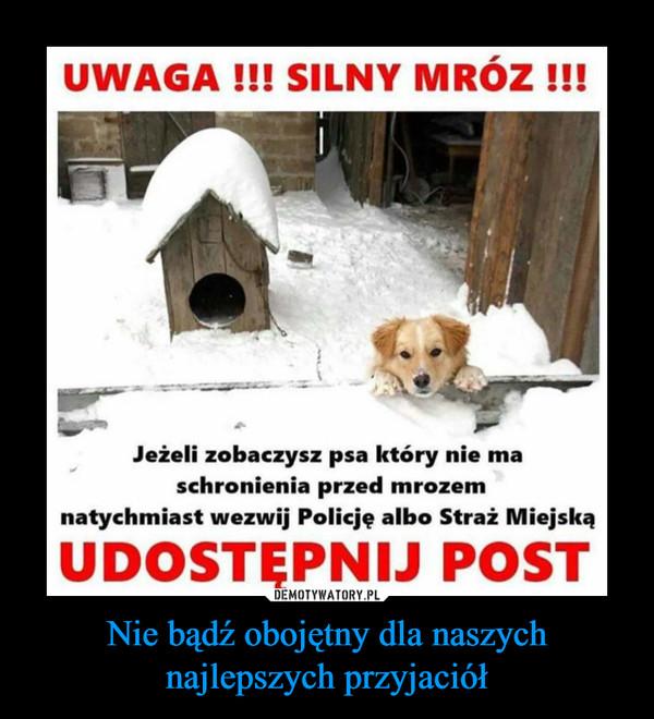 Nie bądź obojętny dla naszychnajlepszych przyjaciół –  Uwaga! Silny mróz!Jeżeli zobaczysz psa który nie ma schronienia przed mtozem natychmiast wezwij Policję albo Straż MiejskąUdostępnij post