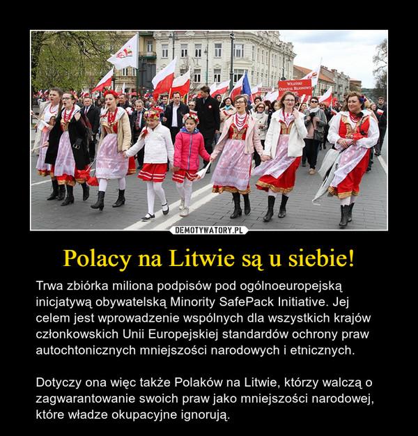 Polacy na Litwie są u siebie! – Trwa zbiórka miliona podpisów pod ogólnoeuropejską inicjatywą obywatelską Minority SafePack Initiative. Jej celem jest wprowadzenie wspólnych dla wszystkich krajów członkowskich Unii Europejskiej standardów ochrony praw autochtonicznych mniejszości narodowych i etnicznych.Dotyczy ona więc także Polaków na Litwie, którzy walczą o zagwarantowanie swoich praw jako mniejszości narodowej, które władze okupacyjne ignorują.
