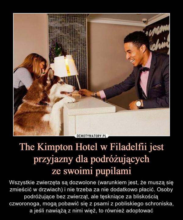 The Kimpton Hotel w Filadelfii jest przyjazny dla podróżującychze swoimi pupilami – Wszystkie zwierzęta są dozwolone (warunkiem jest, że muszą się zmieścić w drzwiach) i nie trzeba za nie dodatkowo płacić. Osoby podróżujące bez zwierząt, ale tęskniące za bliskością czworonoga, mogą pobawić się z psami z pobliskiego schroniska, a jeśli nawiążą z nimi więź, to również adoptować