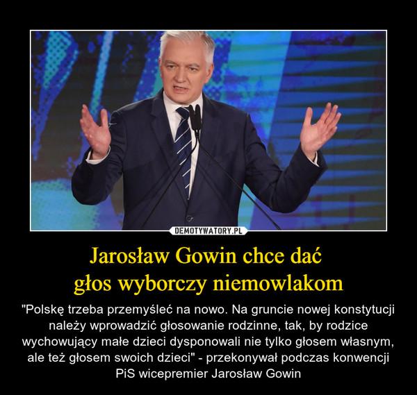 Jarosław Gowin chce dać  głos wyborczy niemowlakom