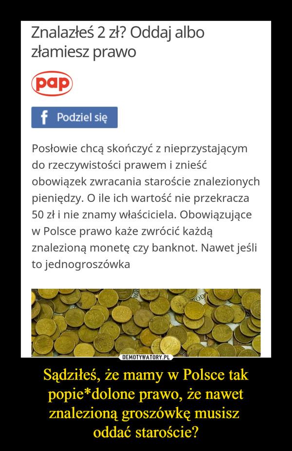 Sądziłeś, że mamy w Polsce tak popie*dolone prawo, że nawet znalezioną groszówkę musisz oddać staroście? –