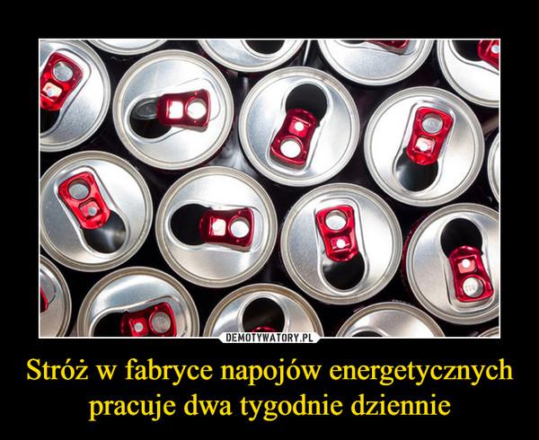 Stróż w fabryce napojów energetycznych pracuje dwa tygodnie dziennie –
