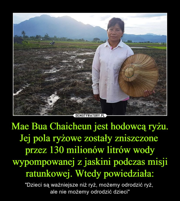 """Mae Bua Chaicheun jest hodowcą ryżu. Jej pola ryżowe zostały zniszczone przez 130 milionów litrów wody wypompowanej z jaskini podczas misji ratunkowej. Wtedy powiedziała: – """"Dzieci są ważniejsze niż ryż, możemy odrodzić ryż, ale nie możemy odrodzić dzieci"""""""