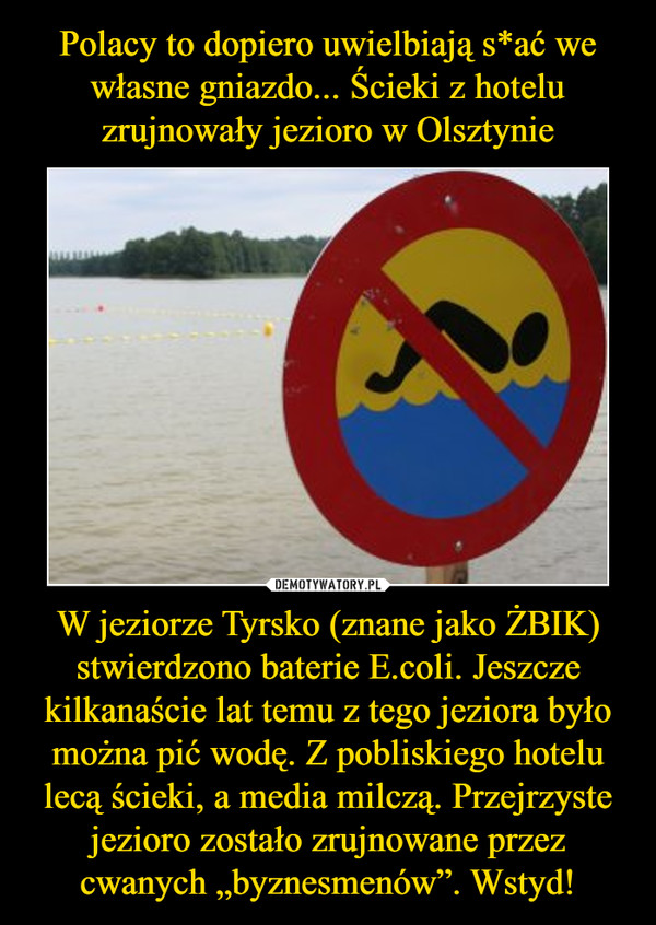 """W jeziorze Tyrsko (znane jako ŻBIK) stwierdzono baterie E.coli. Jeszcze kilkanaście lat temu z tego jeziora było można pić wodę. Z pobliskiego hotelu lecą ścieki, a media milczą. Przejrzyste jezioro zostało zrujnowane przez cwanych """"byznesmenów"""". Wstyd! –"""