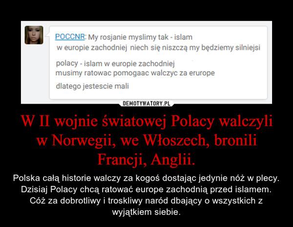 W II wojnie światowej Polacy walczyli w Norwegii, we Włoszech, bronili Francji, Anglii. – Polska całą historie walczy za kogoś dostając jedynie nóż w plecy. Dzisiaj Polacy chcą ratować europe zachodnią przed islamem. Cóż za dobrotliwy i troskliwy naród dbający o wszystkich z wyjątkiem siebie.