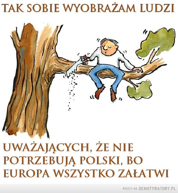 Nie inaczej –  Tak sobie wyobrażam ludzi uważających, że nie potrzebują Polski, bo Europa wszystko załatwi