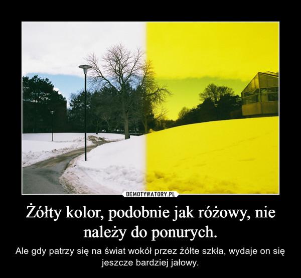 Żółty kolor, podobnie jak różowy, nie należy do ponurych. – Ale gdy patrzy się na świat wokół przez żółte szkła, wydaje on się jeszcze bardziej jałowy.
