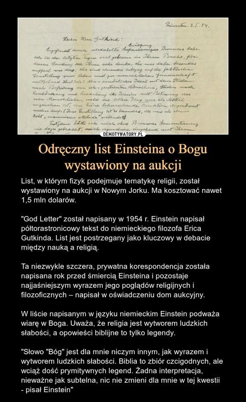 Odręczny list Einsteina o Bogu wystawiony na aukcji