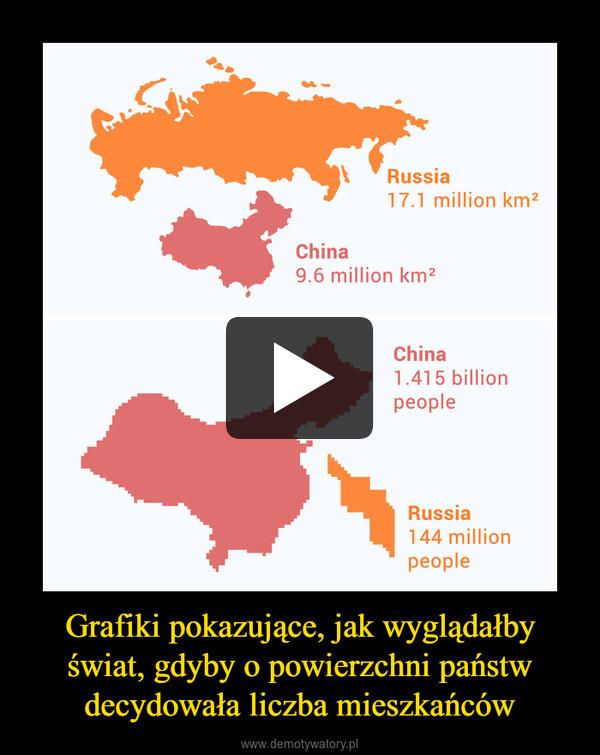 Grafiki pokazujące, jak wyglądałby świat, gdyby o powierzchni państw decydowała liczba mieszkańców –