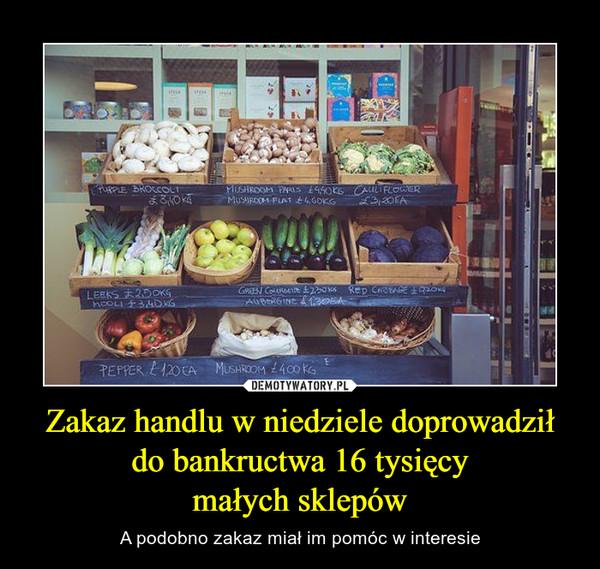 Zakaz handlu w niedziele doprowadził do bankructwa 16 tysięcymałych sklepów – A podobno zakaz miał im pomóc w interesie