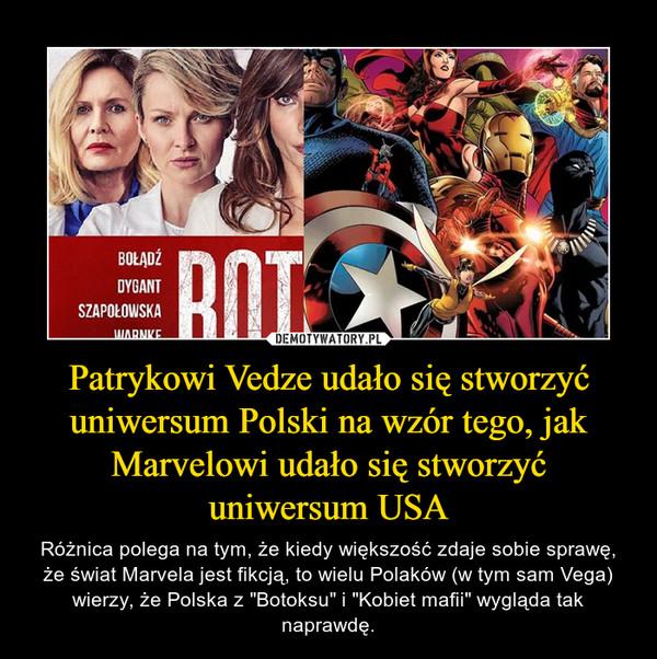 """Patrykowi Vedze udało się stworzyć uniwersum Polski na wzór tego, jak Marvelowi udało się stworzyć uniwersum USA – Różnica polega na tym, że kiedy większość zdaje sobie sprawę, że świat Marvela jest fikcją, to wielu Polaków (w tym sam Vega) wierzy, że Polska z """"Botoksu"""" i """"Kobiet mafii"""" wygląda tak naprawdę."""