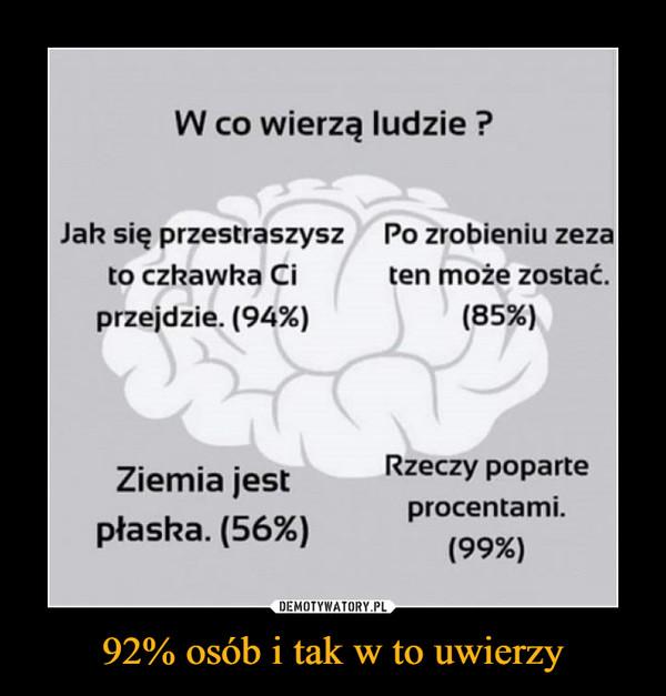 92% osób i tak w to uwierzy –  W co wierzą ludzie?Jak się przestraszyszto czkawka Ciprzejdzie. (94%)Po zrobieniu zezaten może zostać.(85%)Rzeczy poparteZiemia jestpłaska. (56%)o/1 procentami.(99%)