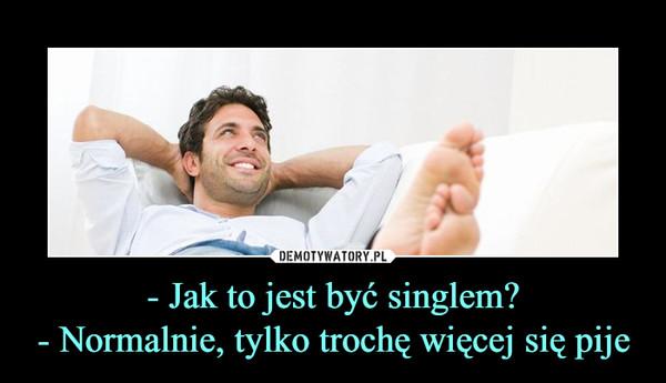 - Jak to jest być singlem?- Normalnie, tylko trochę więcej się pije –