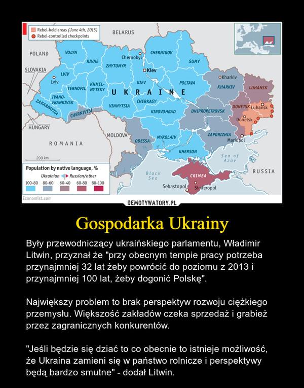 """Gospodarka Ukrainy – Były przewodniczący ukraińskiego parlamentu, Władimir Litwin, przyznał że """"przy obecnym tempie pracy potrzeba przynajmniej 32 lat żeby powrócić do poziomu z 2013 i przynajmniej 100 lat, żeby dogonić Polskę"""".Największy problem to brak perspektyw rozwoju ciężkiego przemysłu. Większość zakładów czeka sprzedaż i grabież przez zagranicznych konkurentów.""""Jeśli będzie się dziać to co obecnie to istnieje możliwość, że Ukraina zamieni się w państwo rolnicze i perspektywy będą bardzo smutne"""" - dodał Litwin."""