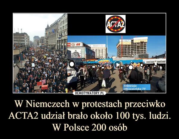W Niemczech w protestach przeciwko ACTA2 udział brało około 100 tys. ludzi. W Polsce 200 osób –