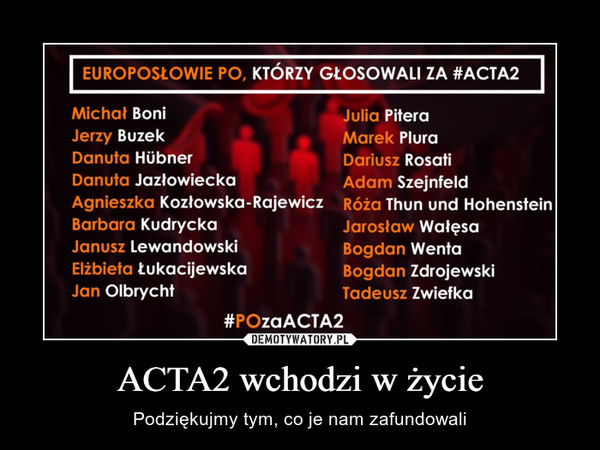ACTA2 wchodzi w życie – Podziękujmy tym, co je nam zafundowali
