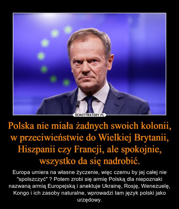 """Polska nie miała żadnych swoich kolonii, w przeciwieństwie do Wielkiej Brytanii, Hiszpanii czy Francji, ale spokojnie, wszystko da się nadrobić. – Europa umiera na własne życzenie, więc czemu by jej całej nie """"spolszczyć"""" ? Potem zrobi się armię Polską dla niepoznaki nazwaną armią Europejską i anektuje Ukrainę, Rosję, Wenezuelę, Kongo i ich zasoby naturalne, wprowadzi tam język polski jako urzędowy."""