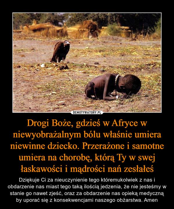 Drogi Boże, gdzieś w Afryce w niewyobrażalnym bólu właśnie umiera niewinne dziecko. Przerażone i samotne umiera na chorobę, którą Ty w swej łaskawości i mądrości nań zesłałeś – Dziękuje Ci za nieuczynienie tego któremukolwiek z nas i obdarzenie nas miast tego taką ilością jedzenia, że nie jesteśmy w stanie go nawet zjeść, oraz za obdarzenie nas opieką medyczną by uporać się z konsekwencjami naszego obżarstwa. Amen
