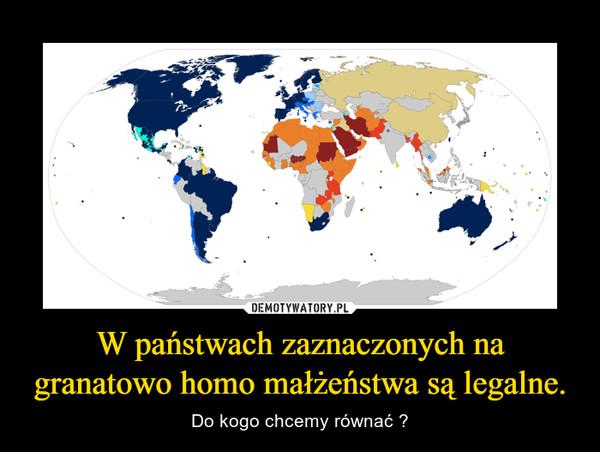 W państwach zaznaczonych na granatowo homo małżeństwa są legalne. – Do kogo chcemy równać ?
