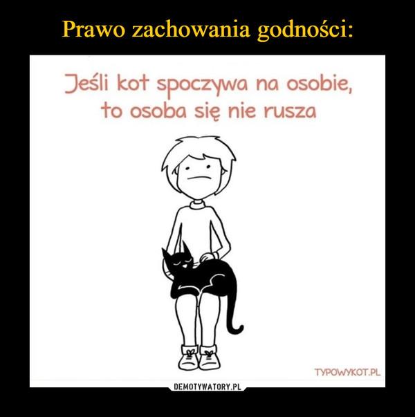 –  Jeśli kot spoczywa na osobie,to osoba się nie rusza