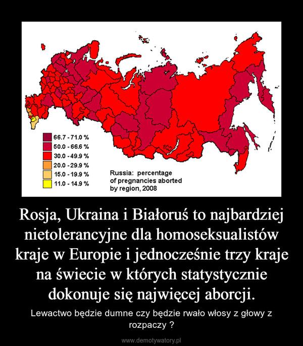 Rosja, Ukraina i Białoruś to najbardziej nietolerancyjne dla homoseksualistów kraje w Europie i jednocześnie trzy kraje na świecie w których statystycznie dokonuje się najwięcej aborcji. – Lewactwo będzie dumne czy będzie rwało włosy z głowy z rozpaczy ?