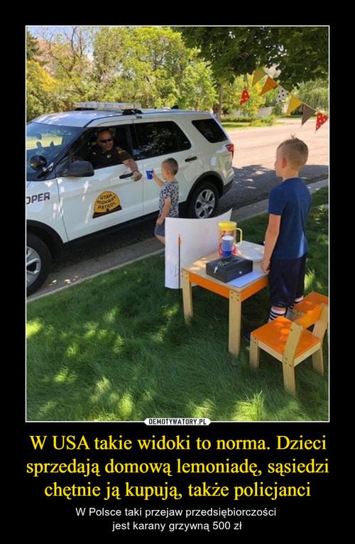 W USA takie widoki to norma. Dzieci sprzedają domową lemoniadę, sąsiedzi chętnie ją kupują, także policjanci