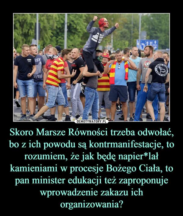 Skoro Marsze Równości trzeba odwołać, bo z ich powodu są kontrmanifestacje, to rozumiem, że jak będę napier*lał kamieniami w procesje Bożego Ciała, to pan minister edukacji też zaproponuje wprowadzenie zakazu ich organizowania? –