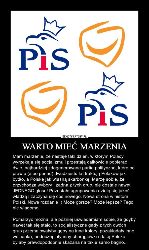 WARTO MIEĆ MARZENIA – Mam marzenie, że nastaje taki dzień, w którym Polacy wyrzekają się socjalizmu i przestają całkowicie popierać dwie, najbardziej zdegenerowane partie polityczne, które od prawie (albo ponad) dwudziestu lat traktują Polaków jak bydło, a Polskę jak własną skarbonkę. Marzę sobie, że przychodzą wybory i żadna z tych grup, nie dostaje nawet JEDNEGO głosu! Pozostałe ugrupowania dzielą się jakoś władzą i zaczyna się coś nowego. Nowa strona w historii Polski. Nowe rozdanie :) Może gorsze? Może lepsze? Tego nie wiadomo.Pomarzyć można, ale później uświadamiam sobie, że gdyby nawet tak się stało, to socjalistyczne gady z tych dwóch grup przemalowałyby gęby na inne kolory, pozakładały inne wdzianka, podoczepiały inny chorągiewki i dalej Polska byłaby prawdopodobnie skazana na takie samo bagno...