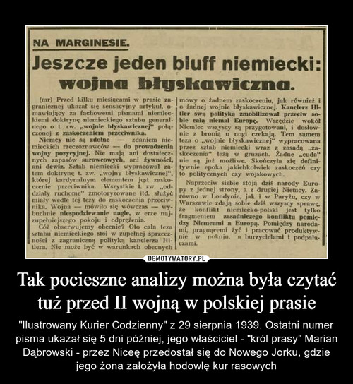 Tak pocieszne analizy można była czytać tuż przed II wojną w polskiej prasie
